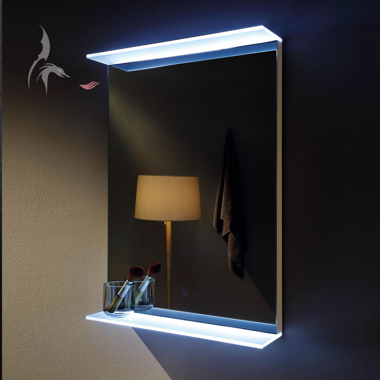 Badezimmerspiegel, Aalen 50x70cm mit LED beleuchteten Glasablagen ...