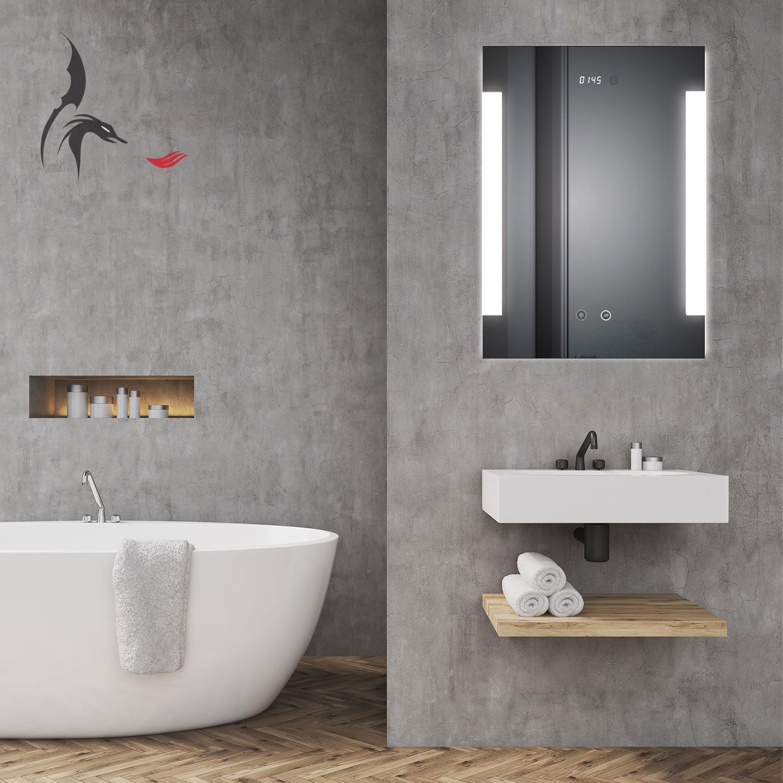Badspiegel LED Beleuchtet Mit ANTIBESCHLAG Und Digital Uhr