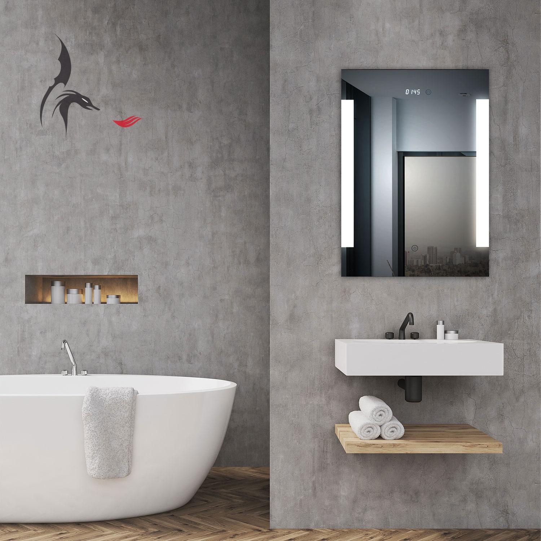badspiegel led beleuchtet mit integrierter digital uhr augsburg 50x70 a ip44 ebay. Black Bedroom Furniture Sets. Home Design Ideas