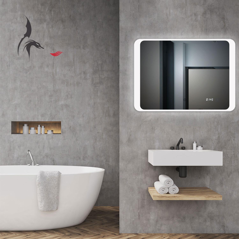 Badspiegel LED beleuchtet mit integrierter Digital Uhr, KIEL 80x60 ...