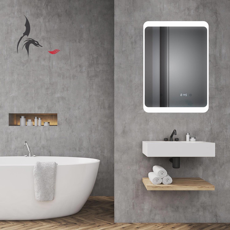 Badspiegel Mit Uhr, Weimar 70x50cm, LED Badezimmerspiegel